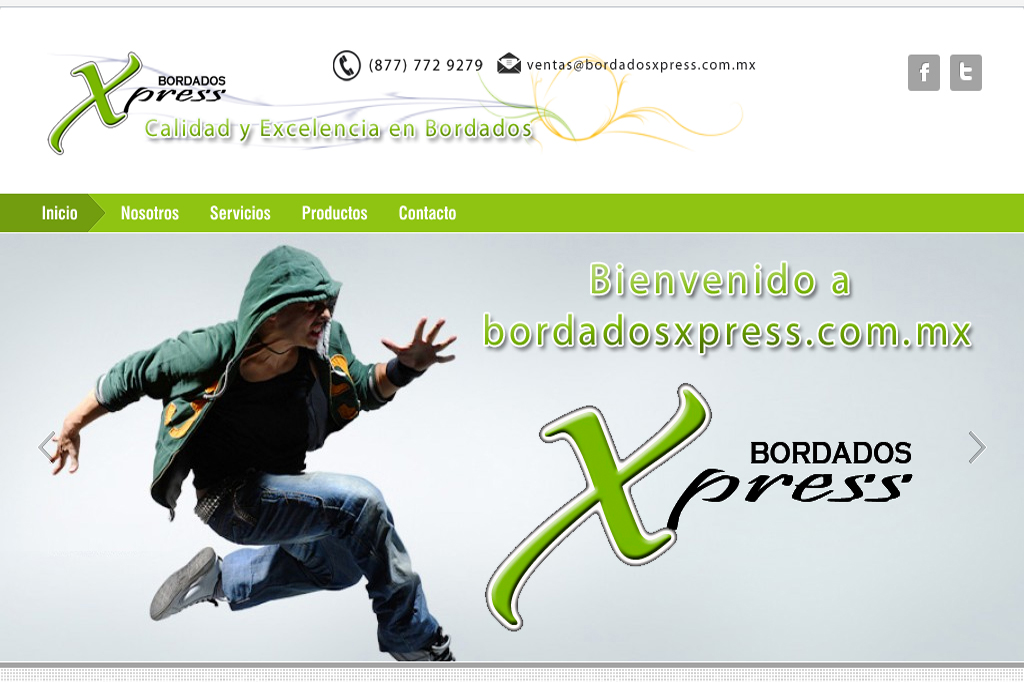 Página web Bordados Xpress