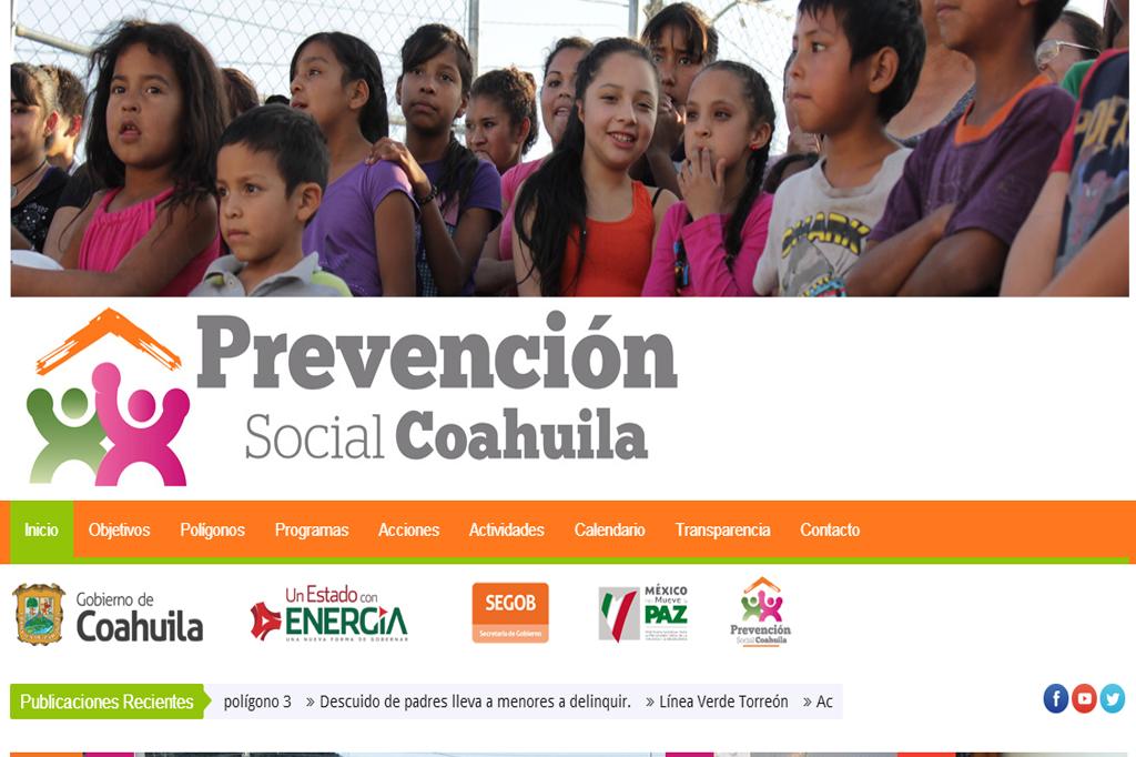 Página web Prevención Coahuila