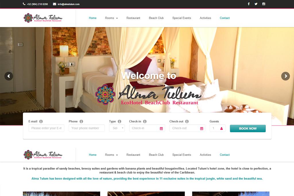 Página web Alma Tulum Hotel